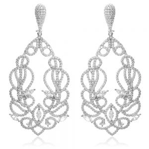 Cercei argint Surub Drop Earrings Zirconii TRSE087, Bijuterii - Corelle