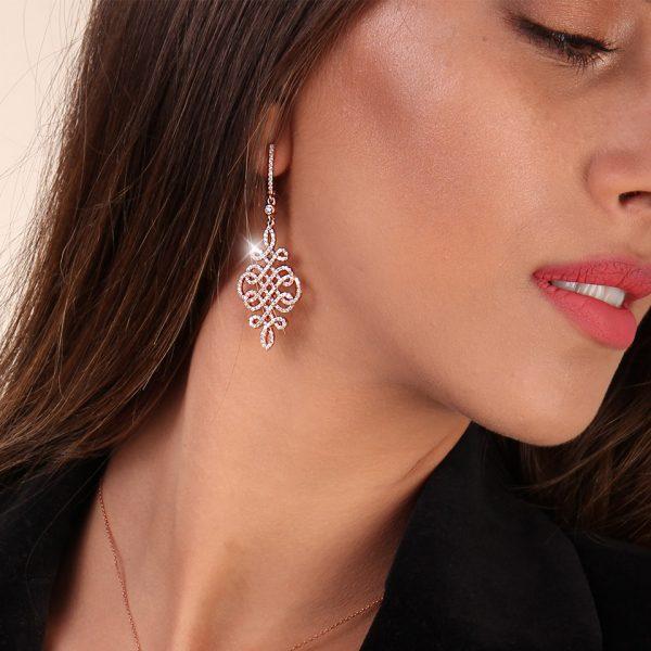 Cercei argint dama Latch Back Drop Earrings Zirconii TRSE091, Bijuterii - Corelle