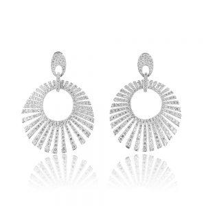 Cercei argint Surub Drop Earrings Zirconii TRSE108, Bijuterii - Corelle