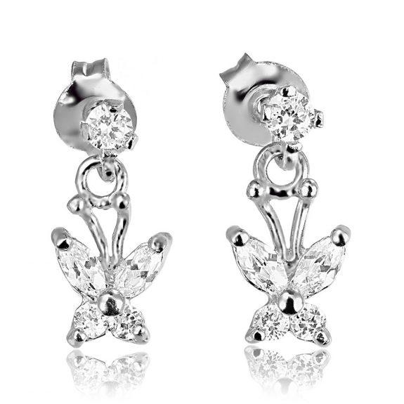 Cercei argint Surub Drop Earrings Zirconii TRSE110, Bijuterii - Corelle