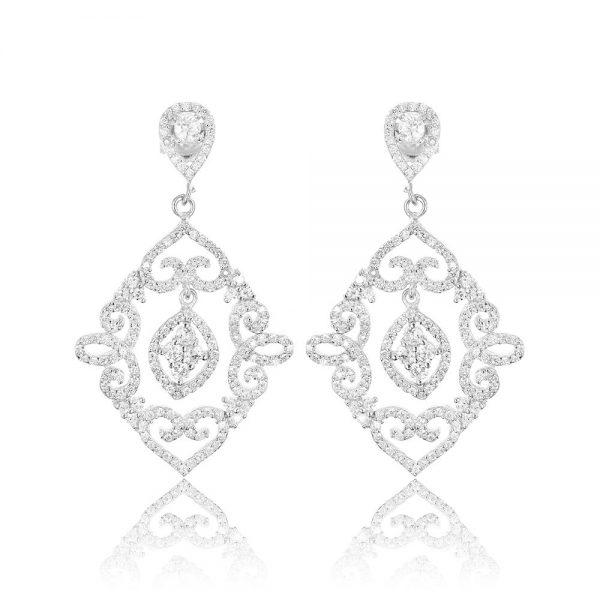 Cercei mari argint Surub Drop Earrings Zirconii TRSE113, Bijuterii - Corelle