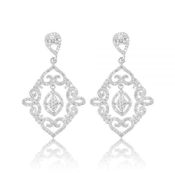 Cercei argint Surub Drop Earrings Zirconii TRSE114, Bijuterii - Corelle