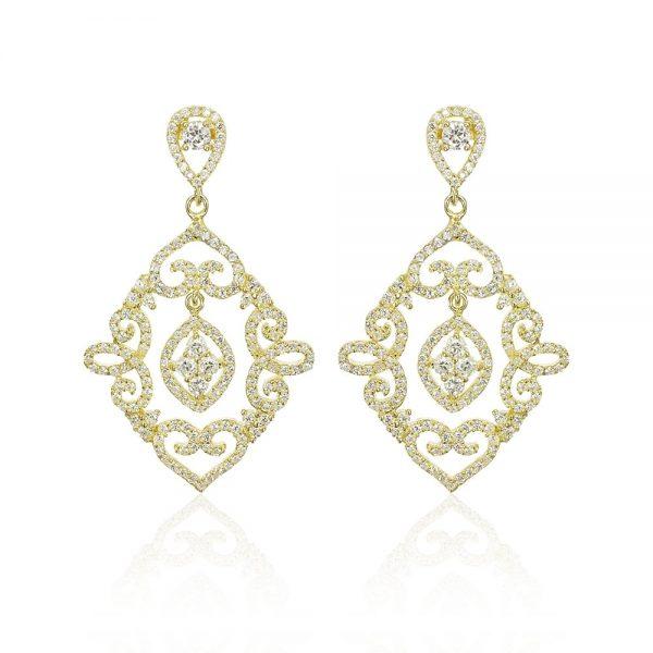 Cercei argint Surub Drop Earrings Zirconii TRSE115, Bijuterii - Corelle