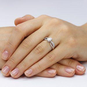 Inel de logodna argint cu cristale si sant TRSR006, Corelle