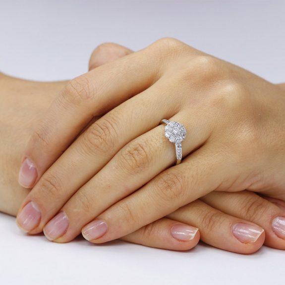 Inel de logodna argint Fancy Flower cu cristale TRSR010, Corelle