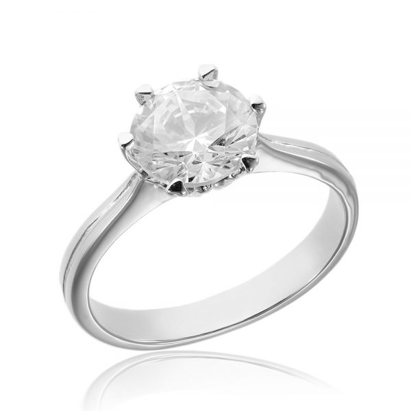 Inel de logodna argint Solitar cu cristale TRSR020, Bijuterii - Corelle