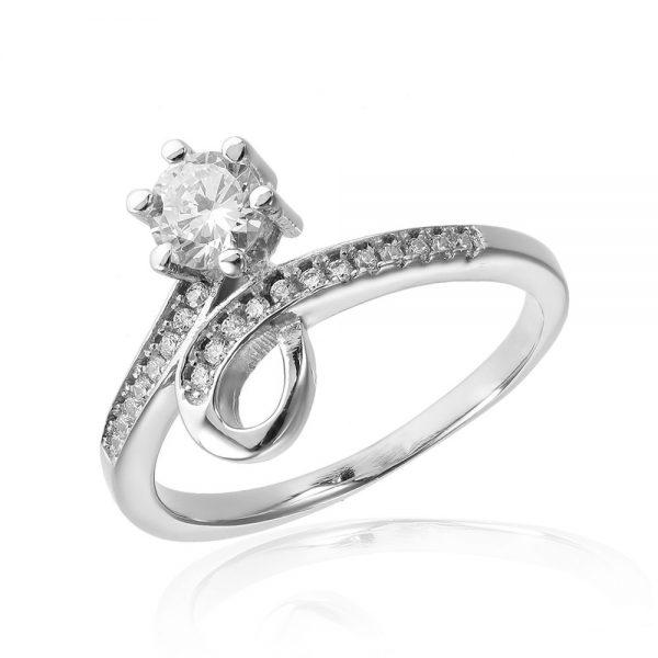 Inel de logodna argint Solitar NoTouch cu cristale TRSR023, Corelle