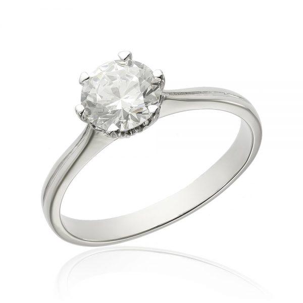 Inel de logodna argint Solitar cu cristale TRSR026, Bijuterii - Corelle