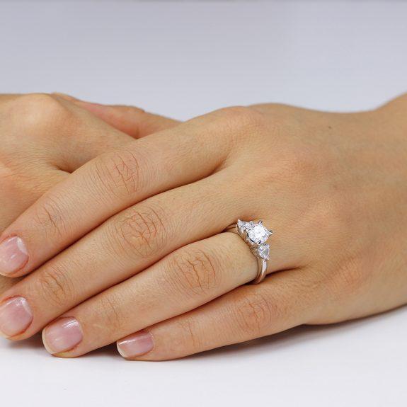 Inel de logodna argint cu 3 cristale TRSR041, Bijuterii - Corelle