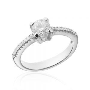 Inel de logodna argint Solitar cu zirconii laterale TRSR051, Corelle