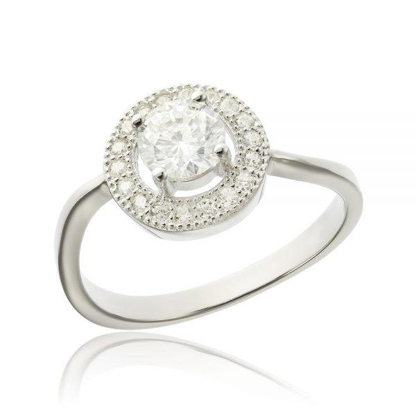 Inel de logodna argint Solitar cu cristale model Anturaj TRSR052, Corelle