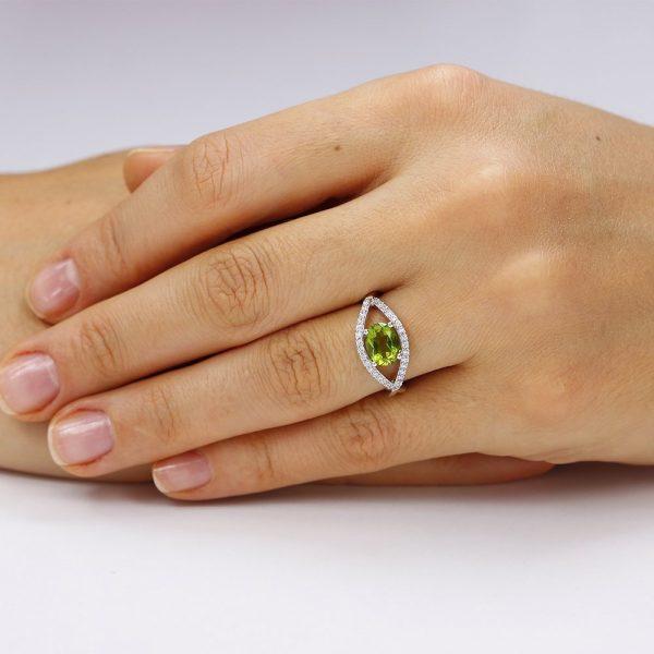 Inel argint Zirconiu verde Fancy cu si cristale albe TRSR057, Corelle
