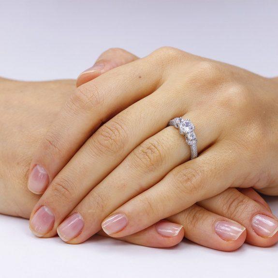 Inel de logodna argint cu 3 cristale centrale TRSR062, Corelle