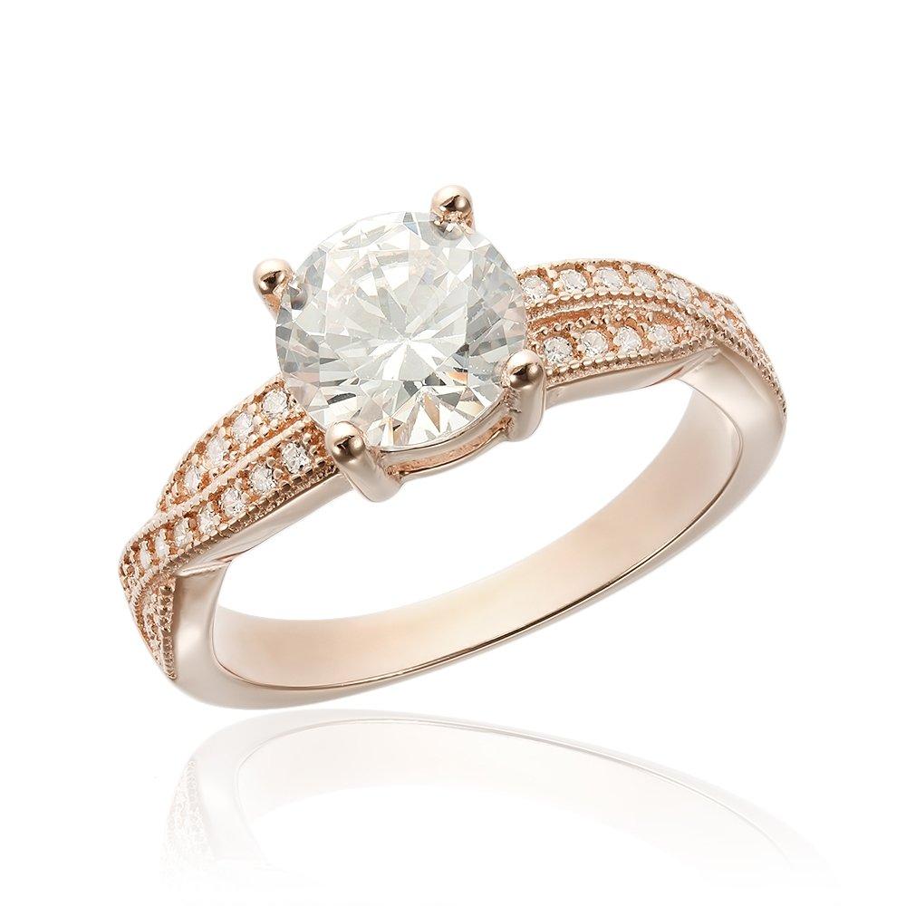 Inele de logodna. Inel de logodna argint Solitar cu cristale laterale mici TRSR067, Corelle