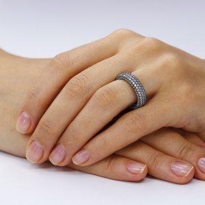Inel argint Eternity cu cristale din zirconiu TRSR078, Bijuterii - Corelle
