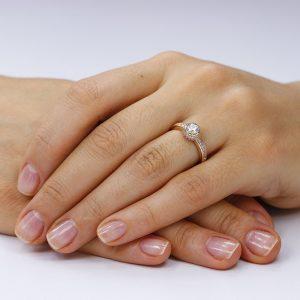 Inel de logodna argint Solitar Roz cu cristale TRSR085, Corelle