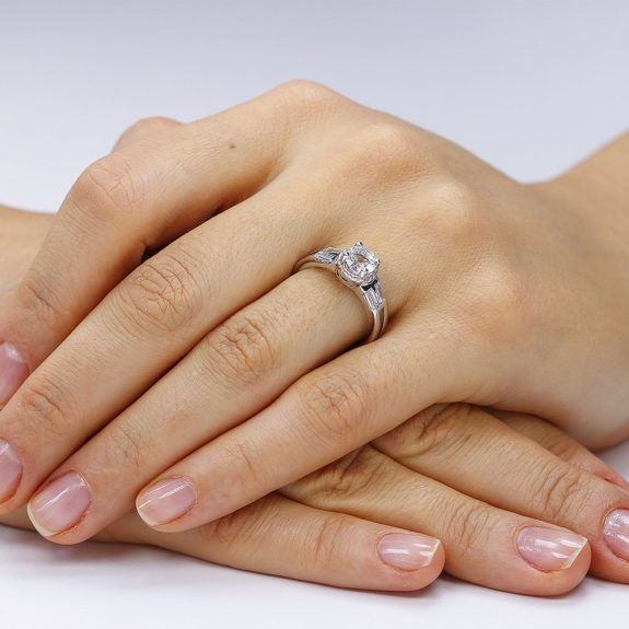 Inel de logodna argint Fancy Solitar cu cristale/sant TRSR103, Corelle