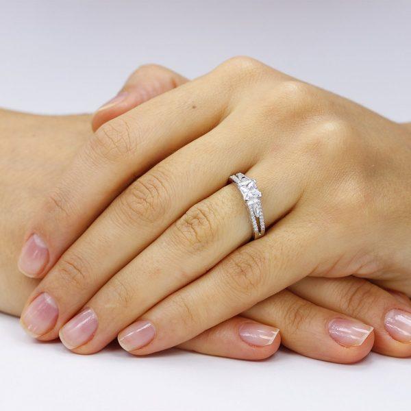 Inel de logodna argint Fancy Princess cu cristale/sant TRSR114, Corelle