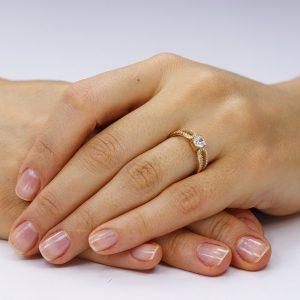 Inel de logodna argint Solitar cu cristale laterale/sant TRSR118, Corelle