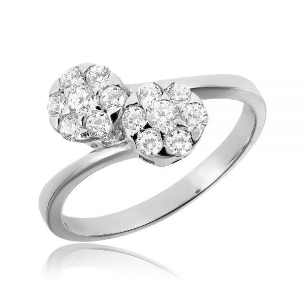 Inel de logodna argint Cluster Yin and Yang cu cristale TRSR120, Corelle