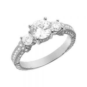 Inel de logodna argint cu 3 cristale mari TRSR122, Corelle