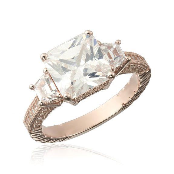Cadouri Valentine's Day. Inele de logodna argint Rose Princess cu 3 cristale mari TRSR124, Corelle