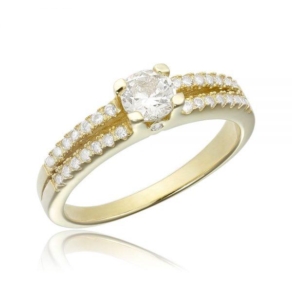 Inel de logodna argint Solitar cu cristale laterale mici TRSR125, Corelle