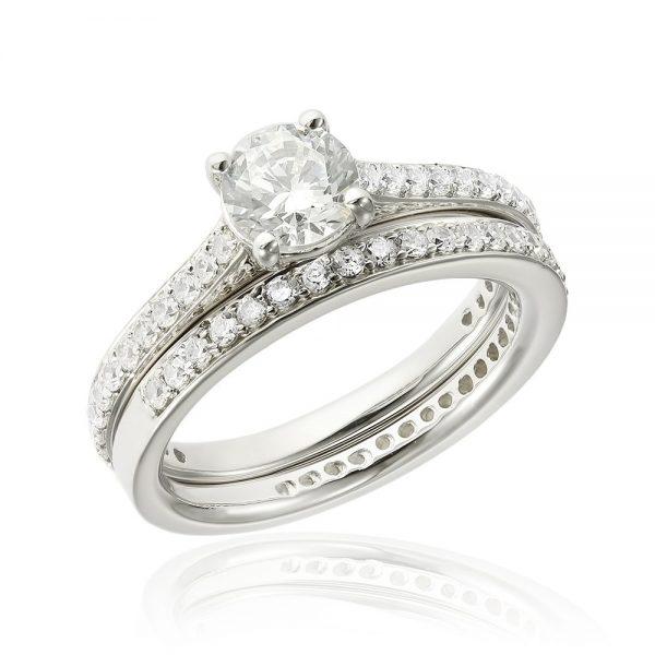 Grup de doua inele logodna argint White cu cristale TRSR126, Corelle