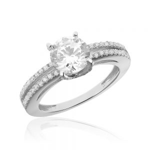 Inel de logodna argint Solitar cu cristale laterale/sant TRSR148, Corelle