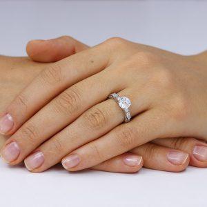 Inel argint Solitar cu cristale laterale TRSR152, Corelle