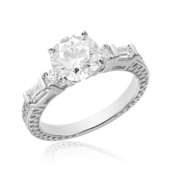 Inel argint Solitar cu cristale Briliant&Bagheta TRSR153, Corelle