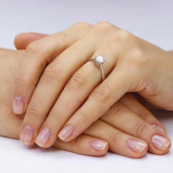 Inel de logodna argint Solitar cu cristale TRSR167, Bijuterii - Corelle