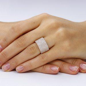 Inel argint Semi Eternity Band cu cristale TRSR197, Bijuterii - Corelle