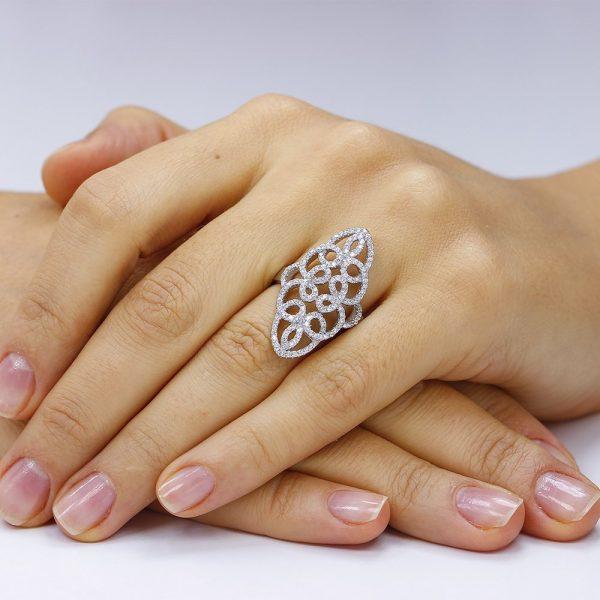 Inel argint Fancy cu cristale mici din zirconii TRSR200, Bijuterii - Corelle
