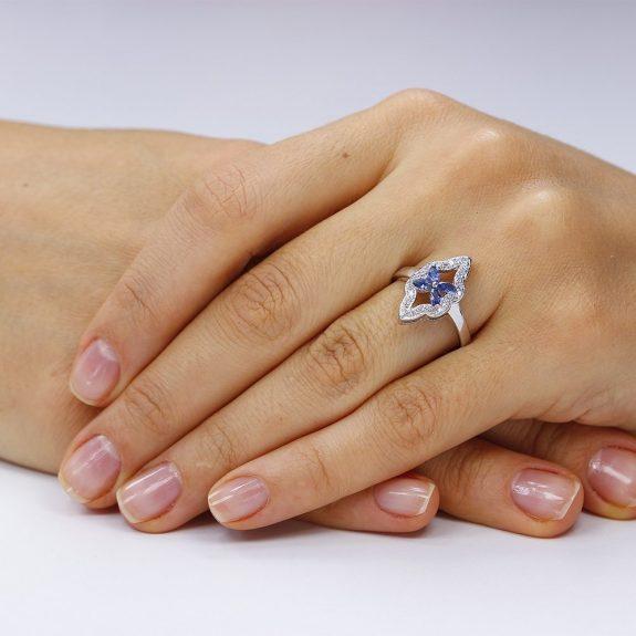 inel de argint 925 rodiat flower blue . trsr279 . Corelle bijuterii argint