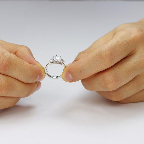 Inel argint cu 3 cristale briliant din zirconiu TRSR217, Bijuterii - Corelle