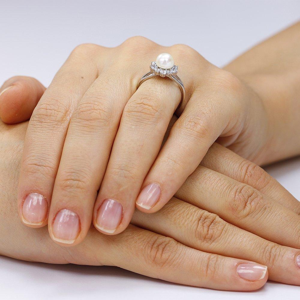 Inele de logodna. Inel argint Solitar Fancy Perla cu cristale TRSR238, Corelle