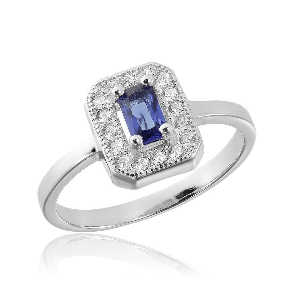 Inele de logodna. Inel argint Solitar Albastru Safir cu cristale TRSR239, Corelle