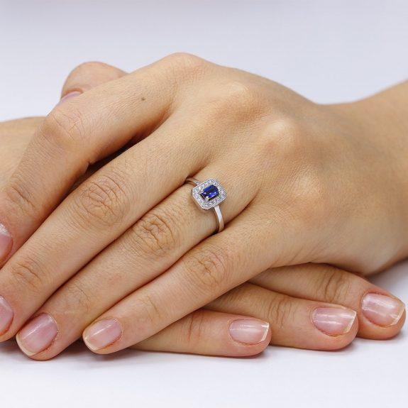 Inel argint Solitar Albastru Safir cu cristale TRSR239, Corelle