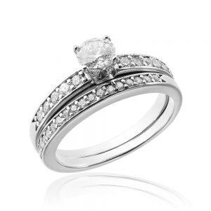 Grup de doua inele logodna argint cu cristale TRSR243, Corelle