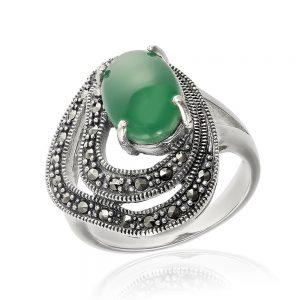 Inel argint Agat Solitar inconjurat de marcasite TRSR244, Corelle