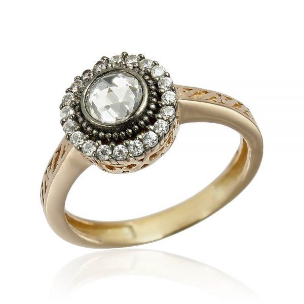 Inel de logodna argint Solitar inconjurat cu cristale TRSR246, Corelle