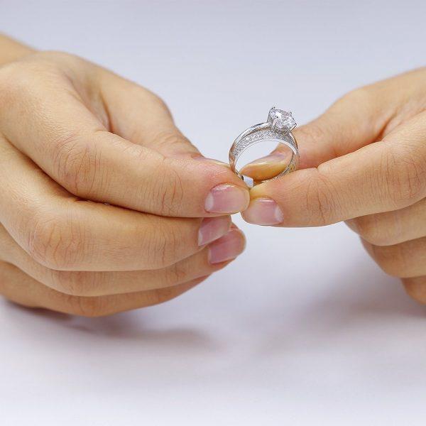 Inel argint Solitar Semi Eternity cu cristale/sant TRSR251, Corelle