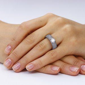 Inel de logodna argint Gorgeous Black&Rose Cristal TRSR269, Corelle