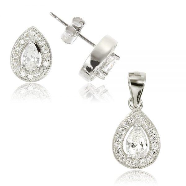 Set argint cu cristale laterale TRSS009, Corelle