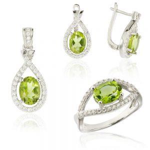 Set argint Zirconiu verde Fancy cu si cristale albe TRSS014, Corelle