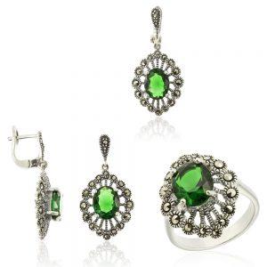 Set argint cu Cristal Verde si marcasite TRSS061, Corelle